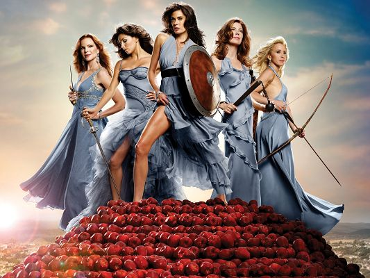 click to free download the wallpaper--Desperate Housewives in 2048x1536 Pixel, Five Ladies in Same Colored Dress, in Own Weapons, They are Ready to Fight - TV & Movies Wallpaper