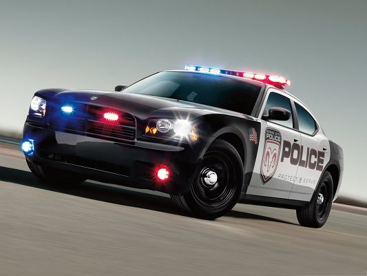 click to free download the wallpaper--Dodge Police Car, White Running Car, After Someone Wanted, Give It a Way!