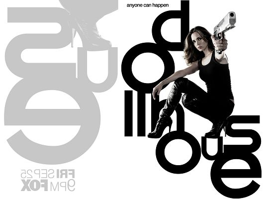 DollHouse TV Series 2010 Post in 1920x1440 Pixel, Lady in Black Suit and Gun, Sitting on Black Letter, She is Looking Good - TV & Movies Post