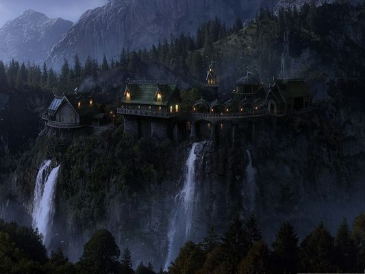 click to free download the wallpaper--Dreamlike Landscape, Tall Houses by the Waterfall, Dreamy Scene