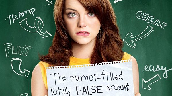 click to free download the wallpaper--Emma Stone Easy A in 1920x1080 Pixel, Full of Negative Words, She is Too Embarrassed to Still Stand There - TV & Movies Wallpaper