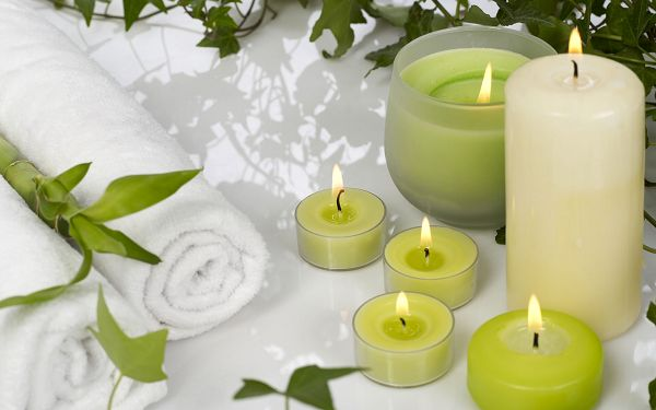 Enjoyable Hot SPA, White and Green Candles, is Overall Clean and Simple - HD SPA Widescreen Wallpaper