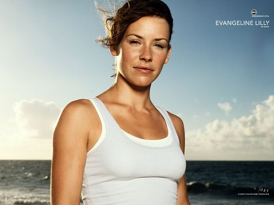 click to free download the wallpaper--Evangeline Lilly Post as Kate in Lost Available in 1600x1200 Pixel, In Face of the Sea, She is Smiling, Everything is Fine - TV & Movies Post