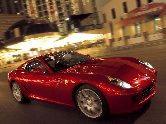 click to free download the wallpaper--Ferrari 599 GTB Car as Background, Red Super Car in the Run, Turned on Lights
