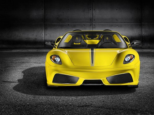 click to free download the wallpaper--Ferrari Cars Background, Yellow Car in the Stop, Great Shadow Beneath