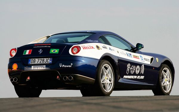 click to free download the wallpaper--Ferrari Cars as Background, Blue Sport Car on Flat Road, Incredible and Fit