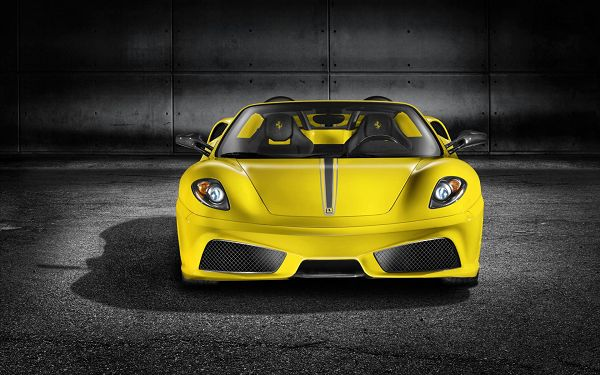 click to free download the wallpaper--Ferrari Scuderia Spider Post in Pixel of 1920x1200, Yellow and Decent Car in Full Stop, an Uneven and Black Road, a Great Fit - HD Cars Wallpaper
