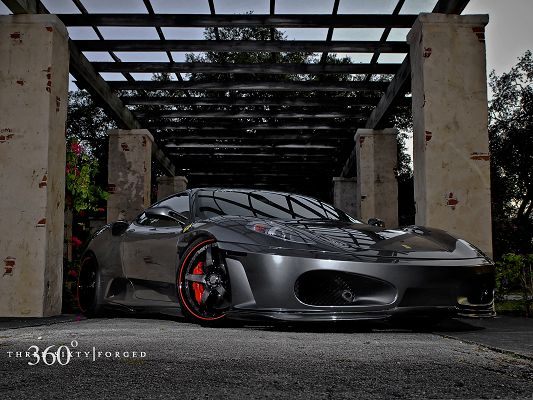 click to free download the wallpaper--Ferrari Sport Car, Black and Decent Car in Smooth Lines, Dusk Scene