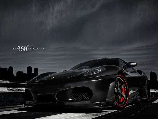 click to free download the wallpaper--Ferrari Sport Car Wallpaper, Black Cool Car in the Stop, Much Attractive