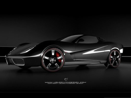 click to free download the wallpaper--Ferrari Sport Car Wallpaper, Black Super Car on Dusk Background, Shinning Look