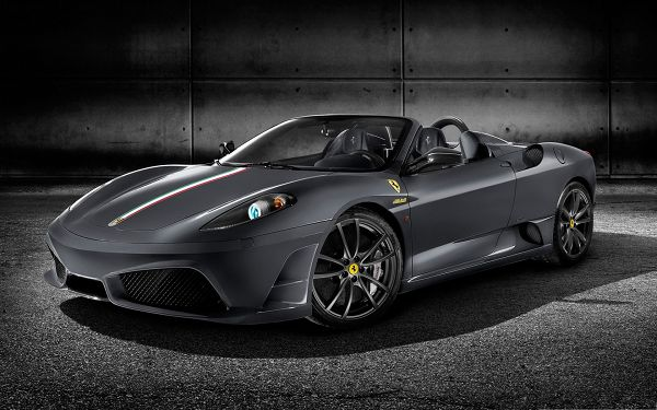 click to free download the wallpaper--Ferrari Sport Car Wallpaper, Gray Super Car on Black Road, Glowing and Smooth Body