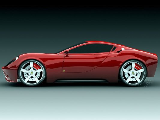 click to free download the wallpaper--Ferrari Sport Car Wallpaper, Red Super Car on Flat Road, Smooth Lines