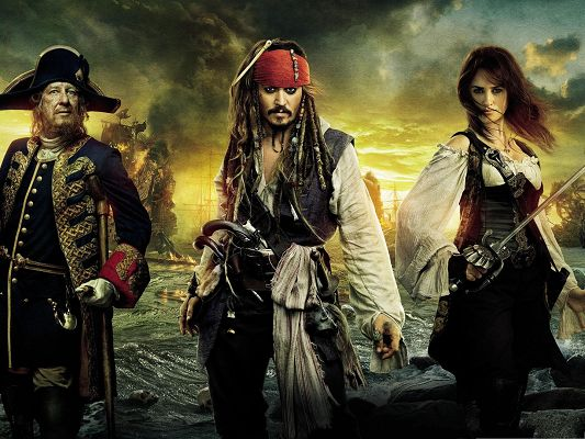 click to free download the wallpaper--Films Post for Desktop, Pirates Of The Caribbean, Well-Equipped Guys Ready to Fight, Come On!