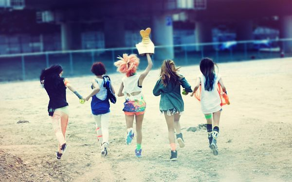 Five Young Girls Running in a Line, Hand in Hand, We Will Go and Strive for a Better Tomorrow - Widescreen Beauty Wallpaper