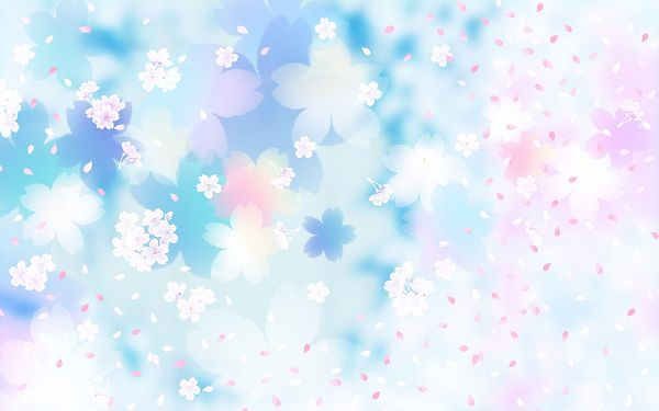 Flower Pattern Background, Blue and Pink Flowers, Flying Petals