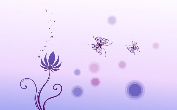 Flowers and Butterflies are Like a Pair of Lovers, on Light Blue Setting, Things Turn out a Clean and Simple Way - Cartoon Flowers Wallpaper
