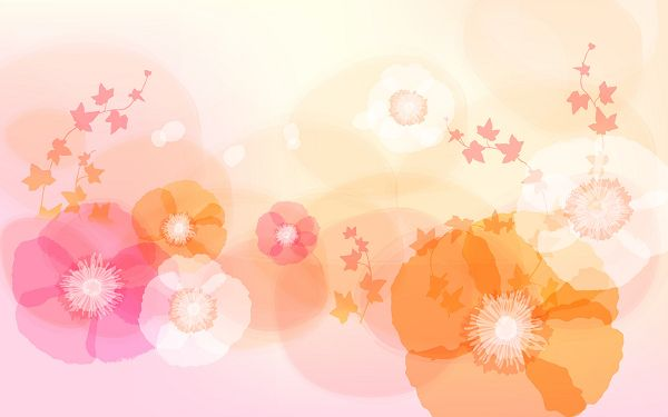 Flowers in Full Bloom, Light-Colored Setting, Things Are Good and Fine - Beautiful and Decorative Wallpaper