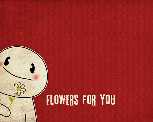 click to free download the wallpaper---Flowers in the Cartoon Figure's Hands, Background is Red, Totally Warm and Enthusiastic - 3D Creative Wallpaper