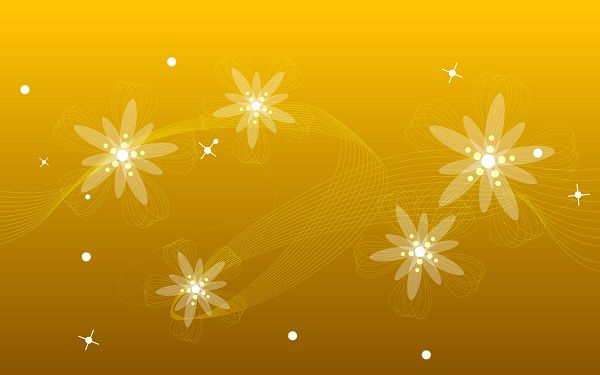 Flowers with Silk Ribbon, a Special Design, White Spots Are Stars-Like, Background is Orange - Cartoon Flowers Wallpaper