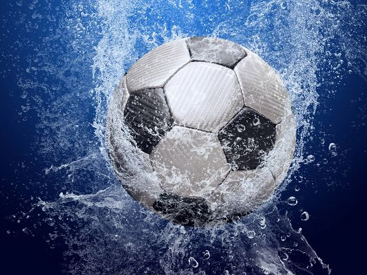 click to free download the wallpaper--Football Wallpaper, Ball in the Water, Splashes All Over, Innervation Scene