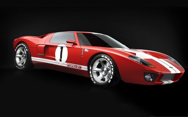 click to free download the wallpaper--Ford GT Car Wallpaper, Red and Decent Car on Black Background, Incredible Look
