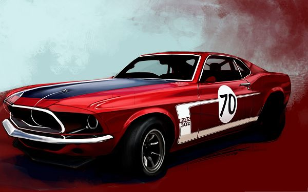 click to free download the wallpaper--Ford Mustang Boss Wallpaper, Red Car in Old Style, Back to Years Before