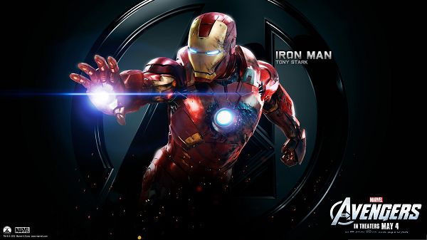 click to free download the wallpaper--Free 3D Film Poster, Iron Man 3, Shinning Hands and Heart