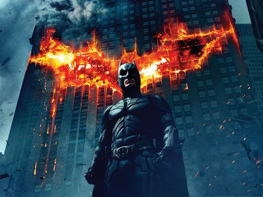 Free 3D Movie Poster, Batman The Dark Knight, Firing Symbol Behind Him