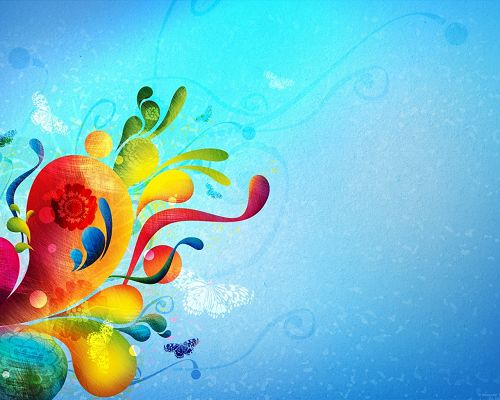 click to free download the wallpaper--Free Abstract Wallpaper, a Bouquet of Colorful Flower, Blue Background, a Butterfly Flying Around