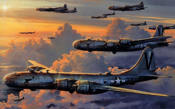 click to free download the wallpaper--Free Aircraft Wallpaper, Superfortress Flying with the Setting Sun