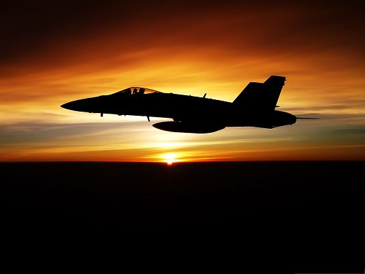 Free Aircrafts Wallpaper, FA 18C Hornet Aircraft Flys with the Rising Sun