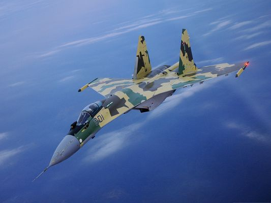 click to free download the wallpaper--Free Airplanes Wallpaper, SU-35 Fighter In Air, Flying in the Blue Sky