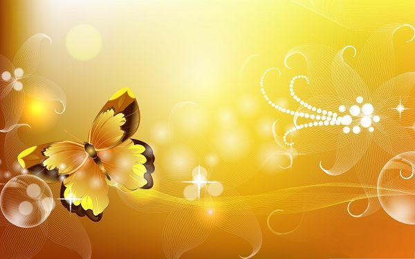 click to free download the wallpaper--Free Animals Wallpaper, Yellow Butterfly, Golden and Decent Look