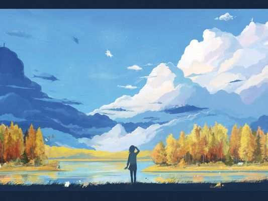 click to free download the wallpaper--Free Anime Girl Images, a Thin Girl Seen from the Back, in the Natural Beautiful Scene