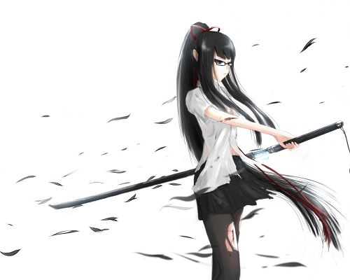 click to free download the wallpaper--Free Anime Girls Pic, Girl in Long Black Hair and Katana Sword, Cool Facial Expression