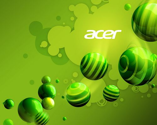 click to free download the wallpaper--Free Brandy Posts, Acer Aspire Series on Green Background, Green Balls Flowing Around