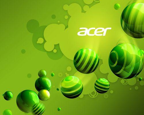 Free Brandy Posts, Acer Aspire Series on Green Background, Green Balls Flowing Around