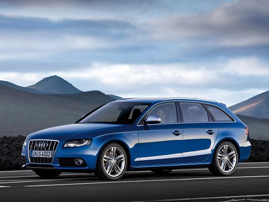 click to free download the wallpaper--Free Car Background, Blue Audi S4 Avant Car Under the Blue Sky, Great Scene