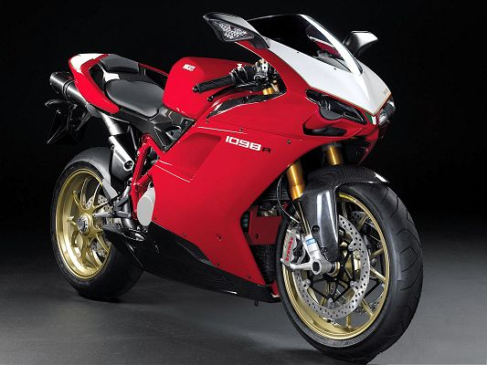click to free download the wallpaper--Free Car Wallpaper, Ducati 1098R Superbike Under Spotlight