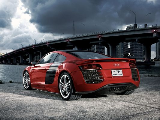 click to free download the wallpaper--Free Car Wallpapers, Audi R8 TDI Facing the Sea, Rain About to Fall