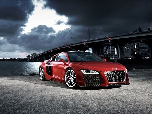 click to free download the wallpaper--Free Car Wallpapers, Audi R8 TDI by the Side of the Peaceful Sea, the Dark Sky