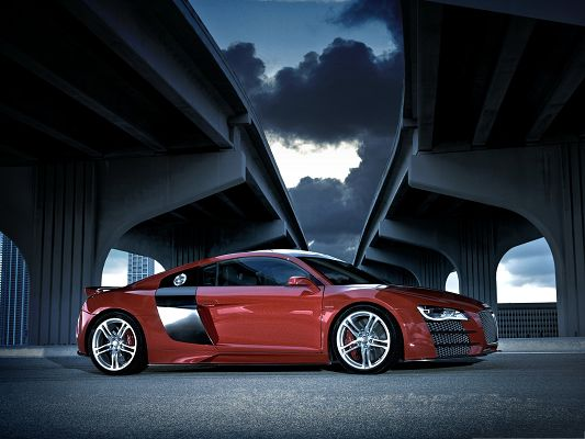 click to free download the wallpaper--Free Car Wallpapers, Audi R8 TDI in the Middle of Two Bridges