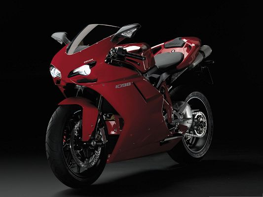 click to free download the wallpaper--Free Car Wallpapers, Ducati 1098 Superbike on Black Road, Impressive Look