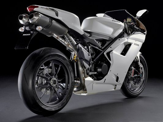 click to free download the wallpaper--Free Car Wallpapers, Ducati 1198 Superbike in Stop, Black Background