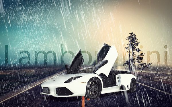 click to free download the wallpaper--Free Cars Poster, White Lamborghini Caught in Heavy Rain, Wide Open Doors