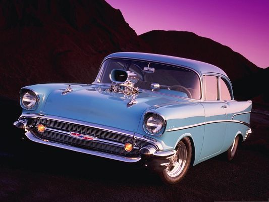 click to free download the wallpaper--Free Cars Wallpaper, Chevy Bel Air Coupe Among the Purple and Romantic Sky