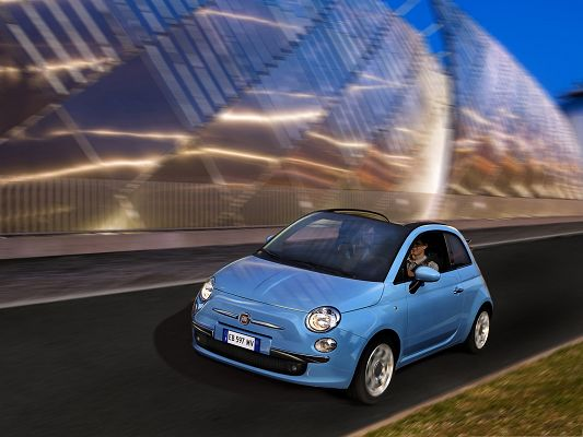 click to free download the wallpaper--Free Cars Wallpaper, Fiat 500C TwinAir, Blue and Small, Smart Car