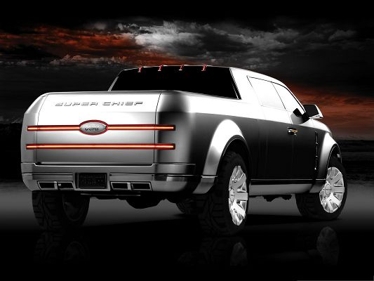 click to free download the wallpaper--Free Cars Wallpaper, Ford F 250 Super Chief Concept Under the Dark Sky