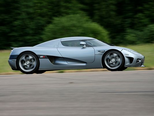 click to free download the wallpaper--Free Cars Wallpaper, Gray Koenigsegg CCX from Side Look, Incredible Speed