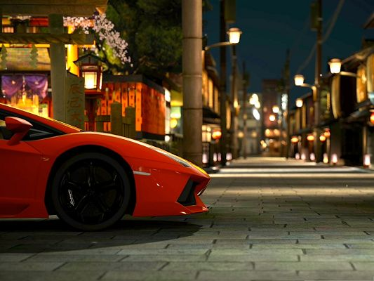 click to free download the wallpaper--Free Cars Wallpaper, Lamborghini Aventador Stopping at Night